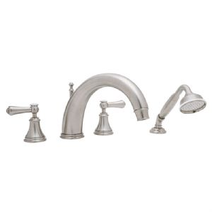 3648 Perrin & Rowe 4-hole Deck Mounted 10 inch C-Spout Bath Tap Set, With Handshower & Lever Handles